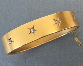 Antique Victorian Old Mine Cut Diamond and Gold Bangle Bracelet