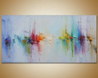 Contemporary Art, Abstract Painting, Original Art, Canvas Painting Seascape Painting, Canvas Wall Decor, Abstract Canvas Art, Rainbow Colors
