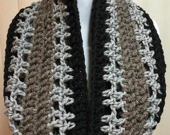 Black and Gray Scarf, Crochet Scarf, Infinity Scarf, Chunky Scarf, Extra Wide Scarf, Crocheted Scarf, Winter Scarf, Gifts for Women