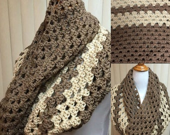 Brown and Beige Cowl Scarf, Crochet Cowl, Beige Cowl, Crochet Cowl Scarf, Crochet Scarf, Cowl Scarf, Crocheted Scarf, Gifts for Her