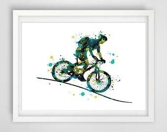 MTB illustration, sport art, bicycle bike digital drawing, original wall decor, Mountain bikes illustration