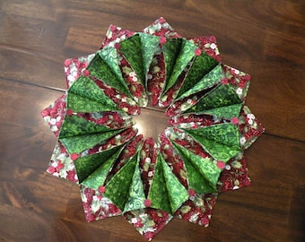 Handmade Folded Holiday Wreath or Candle Mat