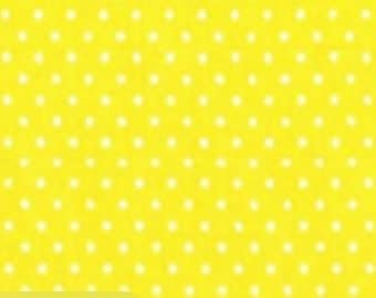 Quilting Cotton Fabric - Micro Dots on Yellow/White Spots on Yellow
