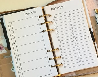 Meal Planning Grocery List Printed Planner Inserts for Personal Size Planners