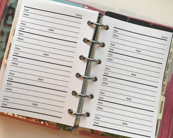 Contacts & Addresses Planner Inserts | Pocket Size Planner