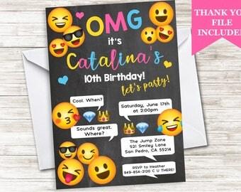 Emoji Invitation Invite Birthday Girls Teen Chalkboard Emojis Digital 5X7 Personalized ANY AGE