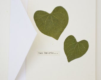 Two hearts: real pressed heart-shaped leaves greeting card (blank inside) with envelope, for wedding, anniversary, Valentine's Day