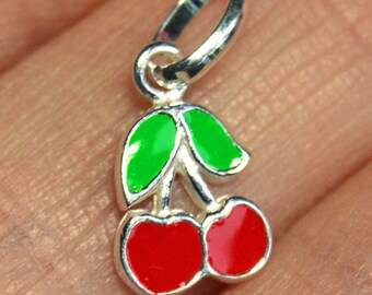 Cherry Charm, Sterling silver cherry charm, red cherry charm, enamelled cherry charm, Enamelled Sterling silver cherry charm, Fruit charm