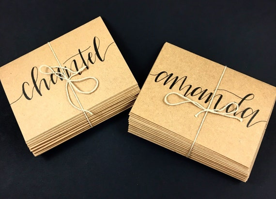 Wedding place cards calligraphy escort