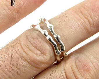Stacking Sterling Silver Ring Set 2Pcs Handmade Hammered Rings
