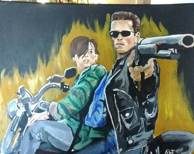 Acrylic painting, painting on canvas, terminator, judgment day, Arnie, small painting, fanart, art, ready to ship, free shipping within US
