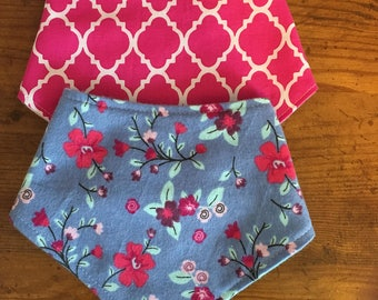 Floral & Hot Pink Bandanna Bib Set