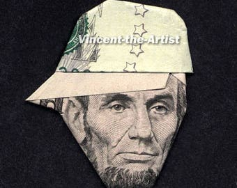 ABE LINCOLN w/Baseball Cap Dollar Origami - President Made of Money
