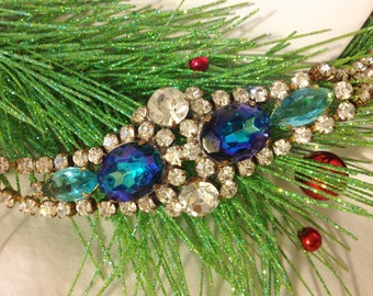 Husar Vintage Rhinestone Bracelet, Christmas Jewelry, Gift for Her, Estate Jewelry, Blue Rhinestone Bracelet