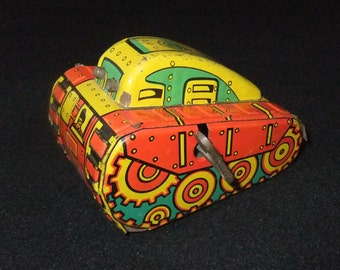 Tank tinplate wind up clockwork vintage c1960s toy
