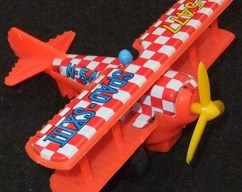 Biplane tinplate and plastic friction toy vintage c1960s toy made in Japan