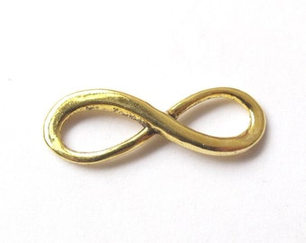 Gold, bronze or silver infinity connector 23x8 mm