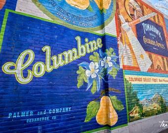 Columbine Mural, Colorado Fruit Orchards,Brick Wall Rustic, Apples, Peaches, Tomahawk, Canvas Wrap, SynVisPhotos, Steve Traudt, Wall Art