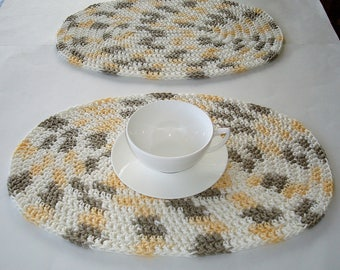 Crocheted Placemats, Cream, Yellow, Taupe Placemats, Oval Placemats,  Handmade Placemats,