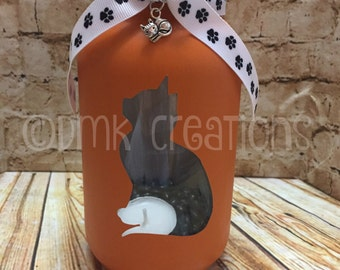 Cat Painted Mason Jar Tea Light Candle Holder, Painted mason jar, Kitten, cat, mason jar, candle holder, tea light candle, meow, lantern