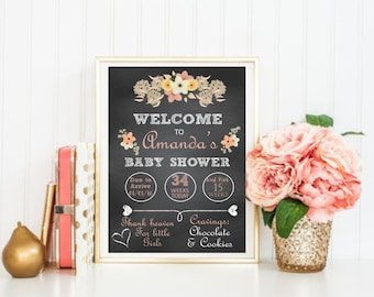 Baby Shower Personalized Table Sign, Pink, Floral, Boho, Chic, Printable Download DESIGN 097