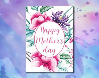 Mothers day card floral printable Mother's day poster Mother's day printable Happy mother's day print Mom card Mother's day art Gift for mom