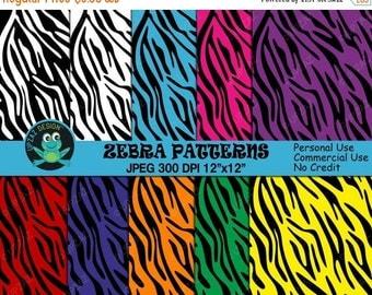 75% OFF SALE Zebra Print Digital Paper, Commercial Use, Zebra Pattern Papers,  Scrapbook Papers, Background - UZ813