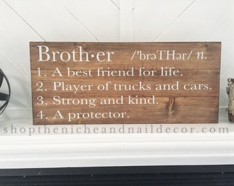 Brother Definition Sign, Kids Bedroom Decor, Room Decor, Baby Shower Gift, Brother Sign, Baby Gift Idea, Home Decor, Custom Order