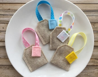 felt tea bags, play tea set, felt tea set, felt food tea bags, pretend play tea, kids birthday gift