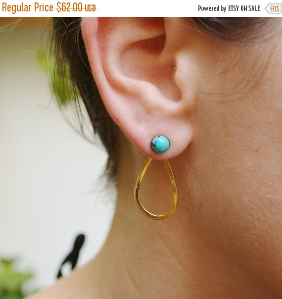 WINTER SALE- Turquoise earrings,gold earrings,gold earjackets,front and back earrings,turquoise earjackets,teardrop earrings