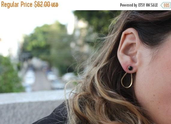 WINTER SALE- Onyx earrings, Gold ear jacket,front and back earrings,teardrop earrings,gold onyx earrings,geometric earrings