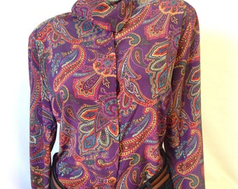 90's vintage button down long sleeve paisley turtle neck shirt