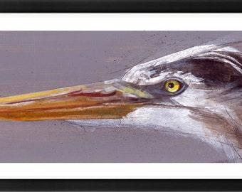 Original Heron Art Painting Pen and Ink Framed
