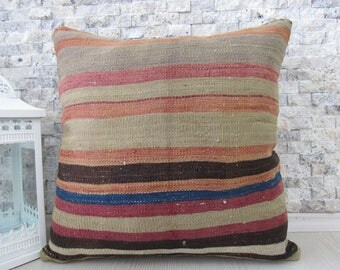 kilim rug kilim pillow cover 18x18 boho decorative floor cushion bohemian pillow vintage pillow home decor cushion bedding pillow
