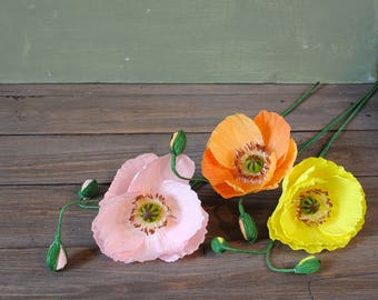 Set of 3 Paper poppies with buds, pink, orange, yellow for wedding or home decor
