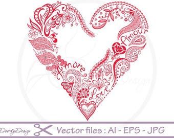 Abstract Floral Heart, Vector Graphics, SVG files Valentines, Instant download, Floral vector file, SVG files heart, vector file heart