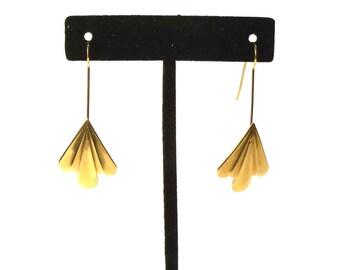 Vintage 70's Egyptian Revival Long Palm Leaf Earrings