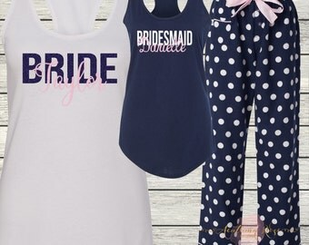 Ladies Pajama Pants and Tank for Bachelorette Party - Cruise - Wedding - Birthday - Bridal Party - Beach - Monogrammed Bridesmaids