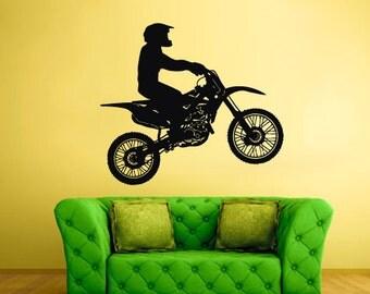 Motorcycle Wall Vinyl Decal Sticker Bedroom Decal Tribal Dirt Bike Moto Jump z201