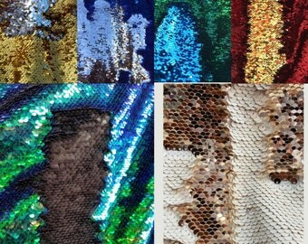 5mm Sequins Swatches- Please Read DESCRIPTIONS - Mermaid Sequins Reversible Swatches Fabric