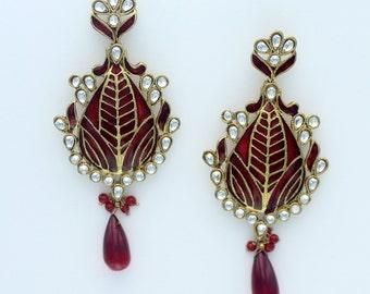 Red Enamel Earrings