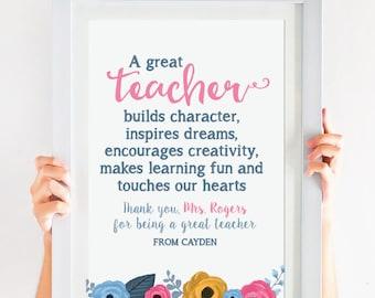 Teacher Appreciation - Teachers Gift - Personalized Teachers Gift  - Printable File!
