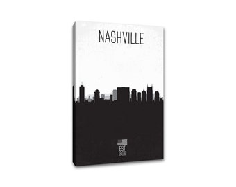 Nashville - City Skyline Distressed Gallery Wrapped Canvas
