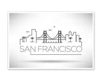 San Francisco Skyline Line Art Poster