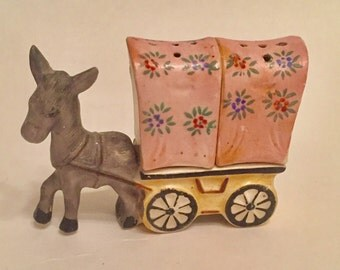 Donkey with wagon salt and pepper shaker handpainted in Japan