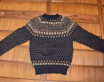 Handmade In Denmark 100% Wool Men Sweater Charcoal Gray Brown Cream Size M