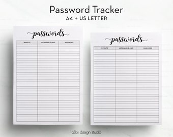 Password Tracker, Password Log, Password Printable, Password Keeper, A4 Insert, Password Journal, Printable Planner