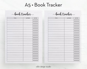 Book Tracker, Printable Planner, A5 Planner Inserts, Reading List, Book Organizer, Books To Read, A5 Planner, To Do List, Planner Inserts