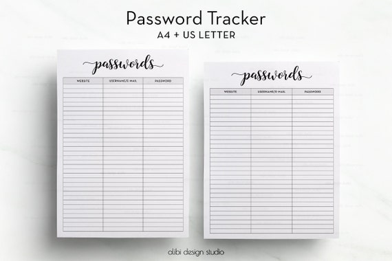 Password Tracker Password Log Password Printable Password