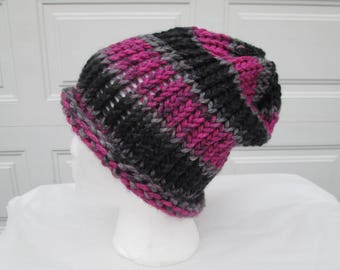 Pink and black striped slouch, winter hat, soft and bulky, loom knitted